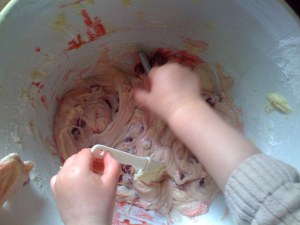 It makes a pleasingly pink cake mixture