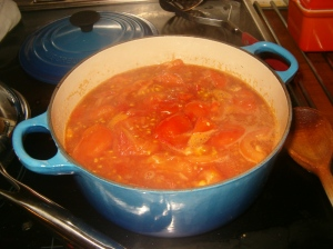 tomato sauce in the making