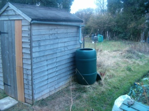 Shed, water butt, compost bins...