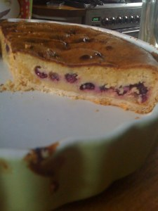 Frangipane and blackcurrant tart